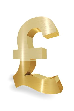 Gold Pound symbol 3d render