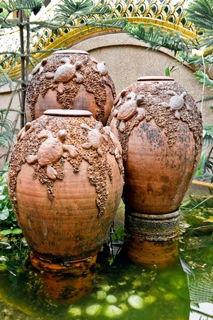 Garden arrangement with pottery in the park