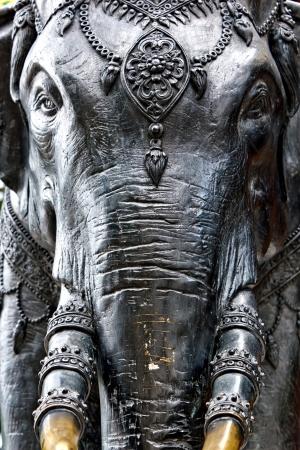 mammoth: Elephant statue near temple, Thailand Stock Photo