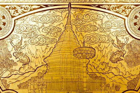 Thai golden painting art,traditional Thai style