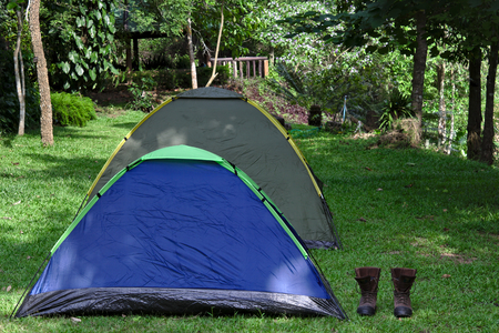 campground: two tents on lush green campground