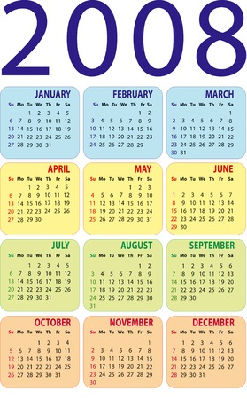 almanac: Calendar 2008. Vertical design. The additional format file (EPS).
