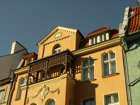 Colour historic tenements in Poland Stock Photo - 1693134