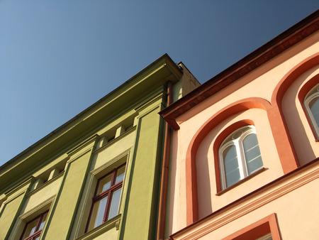 Colour historic tenements in Poland
