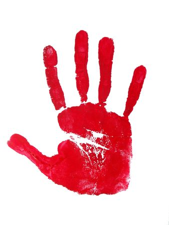 Image of a print of a red hand on a white background.