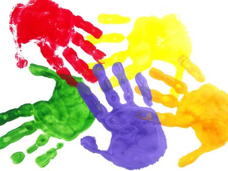 painted: Color hand prints painted on a white paper