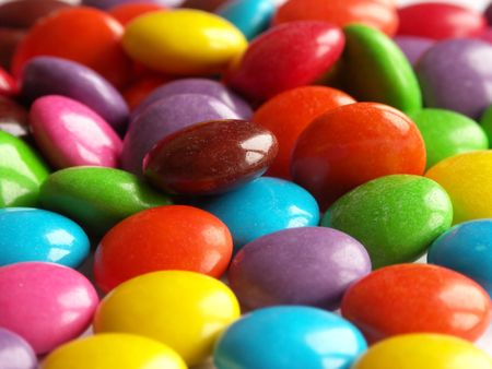 Many colors of sweet candys.