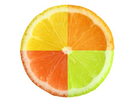 kwadrant: Skład czterech różnych owoców cytrusowych. Clipping path.