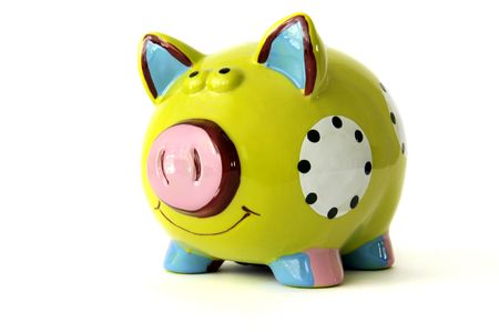 Piggy bank on the white background.