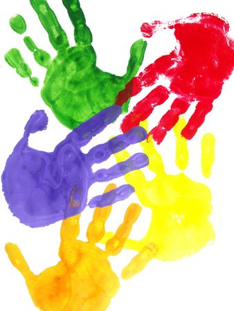 Color hand prints painted on a white paper Stock Photo - 3999212