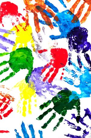 Color hand prints painted on a white paper