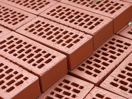 Pile of arranged new bricks on the site Stock Photo - 6021944