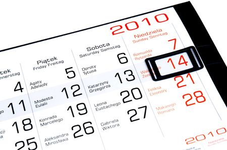 14th: Un calendario de febrero mostrando un lugar destacado de la XIV