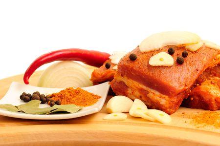 heatproof: Meat in the heatproof dish prepared for baking.