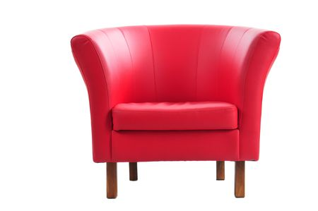 Red armchair isolated on the white background. Stock Photo