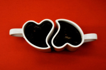 percolate: Valentines - cups in the shape of a heart. Stock Photo