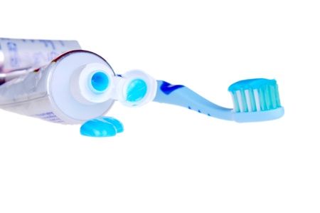 minty: Blue gel toothpaste isolated on the white background.