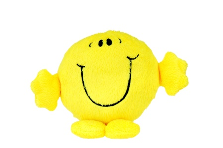 Happy yellow smile face isolated on white background. photo