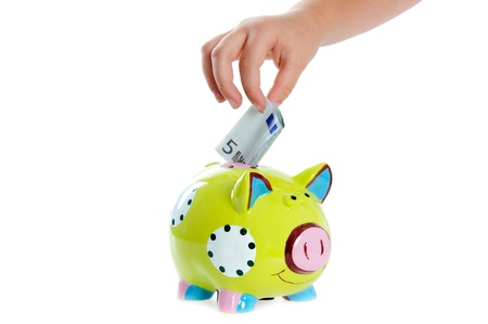 Piggy bank on the white background. photo