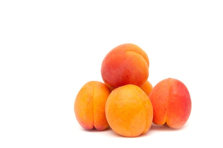 Apricots on the white background. photo