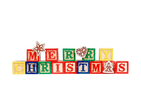 yellow block: Merry Christmas in colorful children