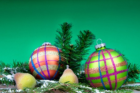 Christmas decoration on the green background Stock Photo - 11557403