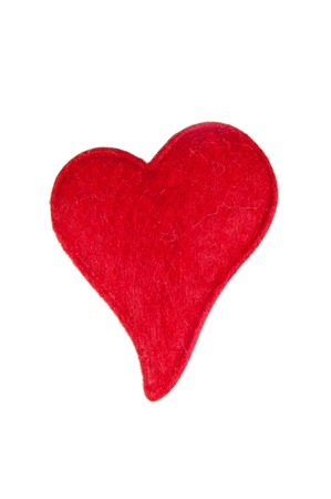 Red cotton heart isoleted on white