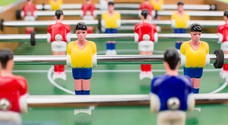 foosball: Foosball players, field view, soccer Stock Photo