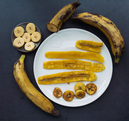 plantain: Fried plantain and raw Stock Photo