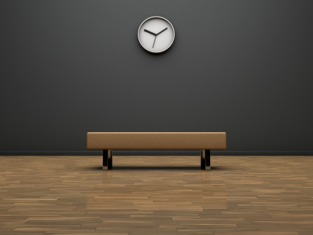 Interior of a modern room with a seat and a clock on the wall photo