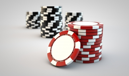 Stacks of gambling chips on white background Stock Photo