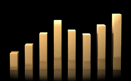 Business chart made of golden bars representing growth and success. On black reflective surface