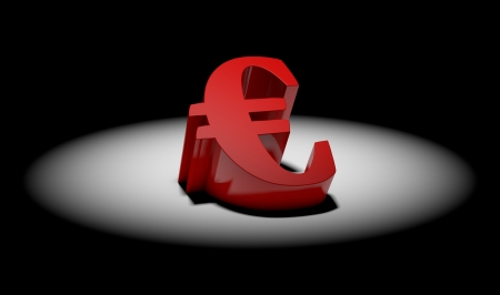 concept of 3d currency symbol in spotlight