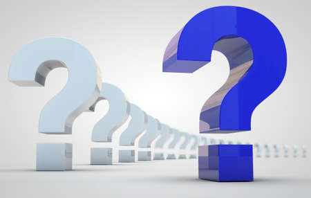 blue question mark and row of white question marks Stock Photo