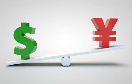 lower value: Concept of currency rates duel. 3d currency symbols
