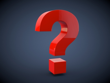 3d question symbol on dark background Stock Photo