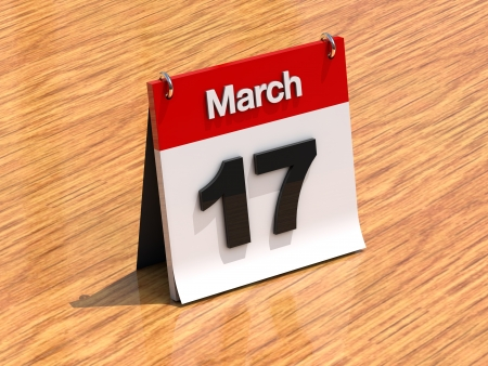 march 17: 3D calendar standing on desk - March 17 - part of a set