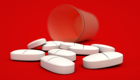painkillers: headache painkillers on red background
