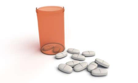 painkillers: Headache painkillers on white background