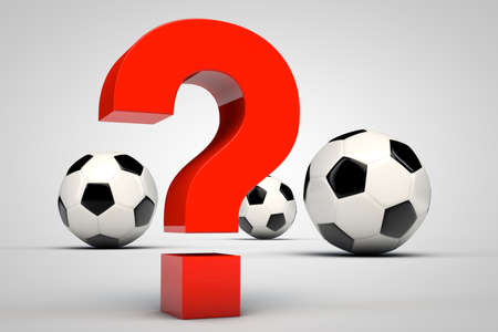 Red question mark and three soccer balls