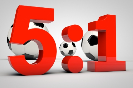 3d render of soccer game result 5:1