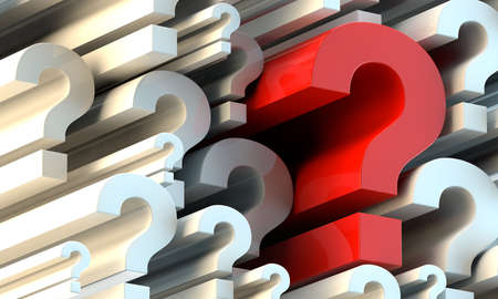 faq: Lots of white 3d question marks and one big red question mark Stock Photo