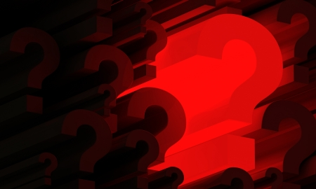 Red glowing 3d question mark amongs smaller question marks Stock Photo