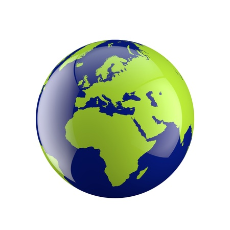 3D shiny globe on white background