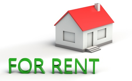 for rent sign: Simple 3d model of a house with red roof with a for rent sign