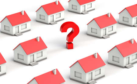 Lines of houses with an empty spot with a question mark Stock Photo