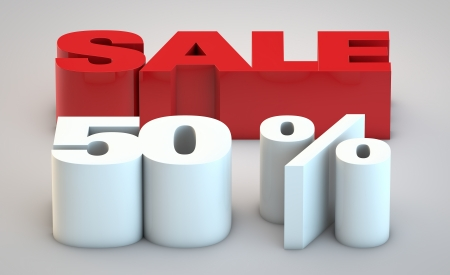 Sale - price reduction of 50% Stock Photo