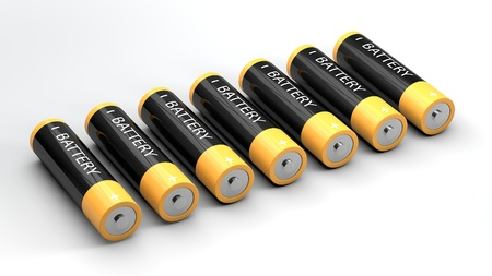 3d battery on white background. alternative energy source concept