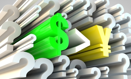 currency rates financial concept amongst question marks