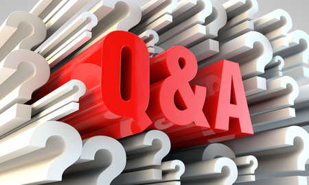Q&A section. red letters with white question marks